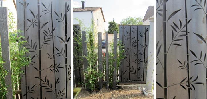 gartenstelen edelstahl – bankroute, Garten seite